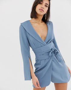Find the best selection of Lavish Alice obi belted mini dress in dusty blue. Shop today with free delivery and returns (Ts&Cs apply) with ASOS! What To Wear To A Wedding, How To Wear, Blue Fashion, Womens Fashion, Asos, Lavish Alice, Ladies Style, Obi Belt, Soft Summer