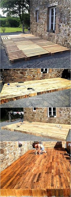 Terrasse on the patio? Have a look at the patio terrace plan and copy it if you feel this will make your area look awesome and the family members will love to spend time there. This will not take many days in completion. Diy Pallet Projects, Woodworking Projects Diy, Outdoor Projects, Pallet Ideas, Wood Projects, Backyard Projects, Woodworking Bench, Woodworking Classes, Craft Projects