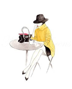 Original Fashion Illustration Cafe Street Style Watercolor