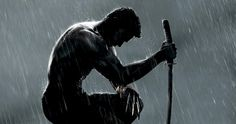 The Wolverine Motion Poster in the rain with Hugh Jackman