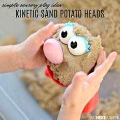 Kinetic Sand Potato Heads Sensory Activity Kinetic sand potato heads what a fun fine motor kinetic sand activity for kids kineticsand sensoryactivities finemotoractivities Art Therapy Activities, Montessori Activities, Motor Activities, Toddler Activities, Sensory Table, Sensory Bins, Sensory Play, Toddler Fun, Toddler Toys