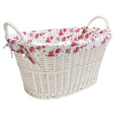 Check out White Wicker Wash Basket With Floral Lining - White from Tesco direct