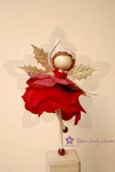 CHIRSTMAS DECO Red princess petal doll Petal by OrientalColour