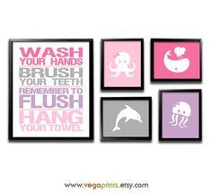 Girl's bathroom wall art print  UNFRAMED  pink by VegaPrints