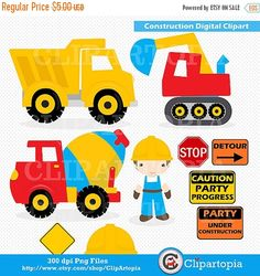Construction Digital Clipart :  CONSTRUCTION CLIPART, Trucks Digital ClipArt , Dump Truck clip art For Personal and Commercial Use, INSTANT DOWLOAD