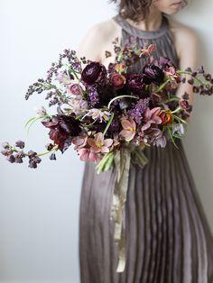 Sarah's bouquet burgundy and peach ranunculas