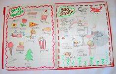 my five senses smell science notebook   ... page is a fold-out page and is a graph of our Five Senses Taste Test