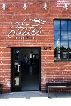 "These two typefaces work nicely together, since they are both of the same weight but have their own stylistic aspects. The first ""t"" turns in to a flag, which seems to give this shop a sense of importance. Cafe Interior, Shop Interior Design, Cafe Design, Retail Design, Store Design, Web Design, Wayfinding Signage, Signage Design, Cafe Shop"