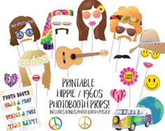 Hippie Party Photo Booth Props 1960s Photobooth Props