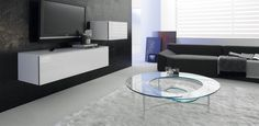 Spiral konferenční stolek ze skla / coffee table with glass top