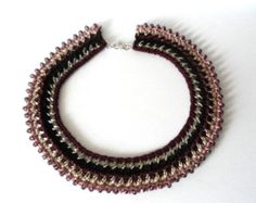 Chain and cotton crochet collar necklace crystal-like beads purple black rose