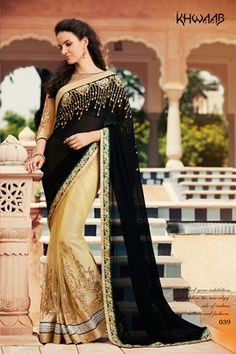 cdef697a9f Black & Beige, Georgette+Net fabric Embroidered Saree Wedding Sarees Online,  Party Wear