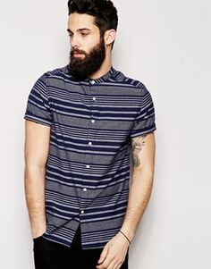 ASOS Chambray Shirt In Short Sleeve With Indigo Stripe And Grandad Collar