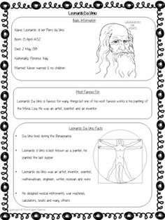 Scientists and Inventors - Leonardo Da Vinci PowerPoint and Worksheets Summer Camp Crafts, Camping Crafts, Da Vinci Inventions, English Literature, Worksheets For Kids, Famous Artists, Art Music, Scientists, Teaching Kids