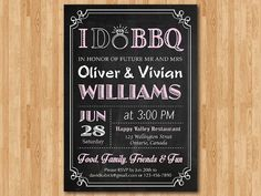 I do BBQ Invitation Chalkboard. Wedding. Engagement Party. Rehersal Dinner Invite. Bridal Shower. Couples Shower. Printable Digital DIY. on Etsy, $10.00