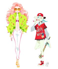 A street fashion Poison Ivy and Harley Quinn I did for my book!