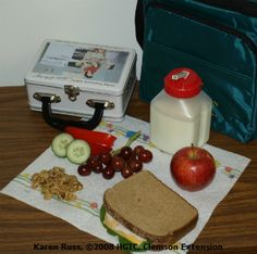 Packing healthy lunch boxes for school.