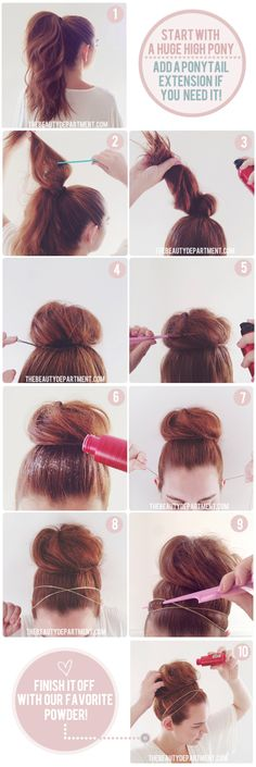 beauty department bun tutorial with good keeping-hair-in-place tips