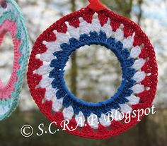 ~ S.C.R.A.P. ~ Scraps Creatively Reused and Recycled Art Projects: Granny Square Milk Ring Ornament