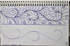 Here are a few border designs in one of my Sketch Books. As you can see from the diagram on the left page , these are. Machine Quilting Patterns, Longarm Quilting, Free Motion Quilting, Hand Quilting, Quilt Patterns, Crazy Quilting, Quilting Ideas, Machine Embroidery, Math Patterns