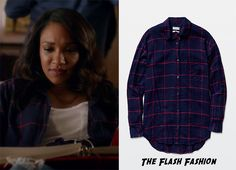 "Who: Candice Patton as Iris West What: Community at Aritzia Veritas Shirt in Royal Navy/Lillooet - $95 Where: The Flash 2x04 ""The Fury of Firestorm"""