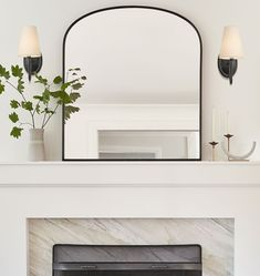 Aged Brass Arched Mantel Metal Framed Mirror - Home Professional Decoration Style At Home, Mirror Above Fireplace, Fireplace Ideas, Fireplace Design, Fireplace Decorations, Decorating A Mantle, Mantels Decor, Modern Fireplace Decor, Modern Mantle
