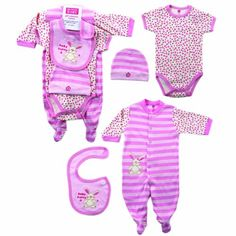 Hudson Baby Layette Set, 4 Piece, Baby Bunny/Pink