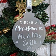 Personalised Christmas baubles available. Pet baubles also available. Your choice of vinyl colour and ribbon. Cricut Christmas Ideas, Christmas Vinyl, First Christmas Ornament, Christmas Projects, Christmas 2019, Christmas Shopping, Personalised Bauble, Personalised Christmas Decorations, Personalized Christmas Ornaments
