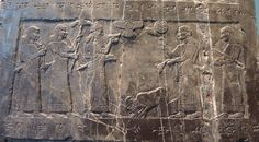 This detail shows the earliest surviving picture of an Israelite: the Biblical Jehu, king of Israel, brought or sent his tribute in around 841 BC. Ahab, son of Omri, king of Israel, had lost his life in battle a few years previously, fighting against the king of Damascus at Ramoth-Gilead (I Kings xxii. 29-36). His second son (Joram) was succeeded by Jehu, a usurper, who broke the alliances with Phoenicia and Judah, and submitted to Assyria.