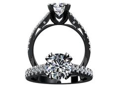 Victorian Inspired 14k Black Gold Engagement Ring, Wedding Ring With 1.25ct VVS White Sapphire Center  W11WS14BK