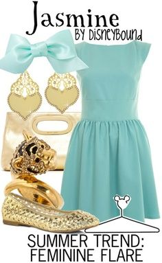 Jasmine: mint dress and hairbow, gold flats and accessories.