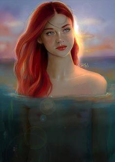 Ariel by Tatiana MoonS Disney Fan Art, Disney Love, Princess Illustration, Realistic Cartoons, Disney Princess Ariel, Disney Princesses, Disney Pixar Movies, Fanart, Mermaids And Mermen