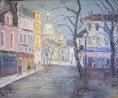 GEORGE HANN Paris and the Sacre Coeur. Oil on