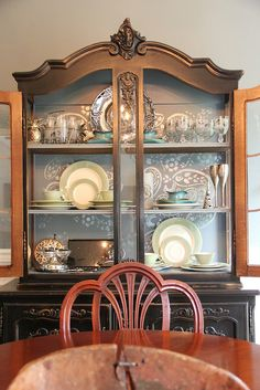 Paper covered foam core to line back of great-grandma's china cabinet! China Cabinet Redo, China Cabinets, Painted Furniture, Home Furniture, Dining Room Blue, Dining Table, Brown Cabinets, Beautiful Interior Design, Farmhouse Table
