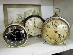 A collection of vintage alarm clocks found at Woodstock Antiques