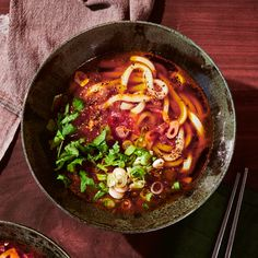 Udon in Buttery Tomato and Soy Broth Recipe | Bon Appétit Japanese Soup, Fried Shallots, Asian Recipes, Ethnic Recipes, Pasta, Soup Recipes, Noodle Recipes, Lunch Recipes, Bon Appetit