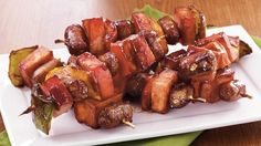 Meat and Pepper Breakfast Kabobs - Tired of plain sausage links or patties? Serve it on skewers instead! The recipe can easily be doubled and would be terrific on a buffet. Make it your way with one of the delicious variations below. Balanced Breakfast, Savory Breakfast, Breakfast Recipes, Breakfast Potluck, Breakfast Ideas, Tailgate Food, Tailgating, Kabob Recipes, Meat Appetizers