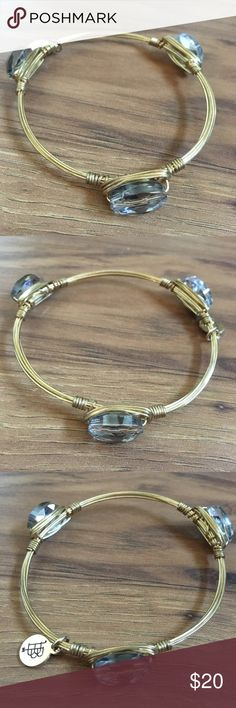 Smoky crystal Bourbon and Boweties bangle EUC with pretty small smoky crystals. I'm only selling because I accidentally got the larger size and it's too big for my wrist. The perfect piece to add to any arm party! Bourbon and Bowties Jewelry Bracelets