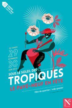 SOUS LE SOLEIL DES TROPIQUES ! Cette année la fête de quartier du Pavé-Neuf à Noisy-le-Grand est placée sous le signe des tropiques ! Voici les affiches que nous avons réalisées pour cette manifestation festive et colorée ! Deux affiches se répondent, le musicien et la danseuse… ça va chauffer à Noisy ! L'illustration est réalisée par Mariette Guigal. http://www.grapheine.com/affiches/affiche-fete-de-quartier