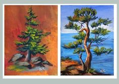 Ginger Cook artist - one of Ginger's academy lessons on how to use two different types of brushes to paint these two trees.