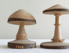 Wooden Mushrooms by DamsonAndWhite on Etsy