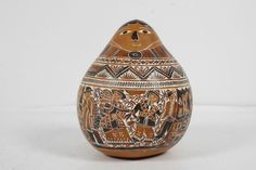 Hand Carved Gourd Peru 1999 Inca Folk Art Engraved Andes Culture