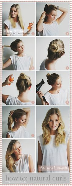 Hair tutorial: how to make natural looking curls using a salt water spray and a blowdryer! :) See more on my blog here: http://passionsforfashion.dk/2013/11/12/how-to-natural-curls/