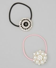 With their luminous rhinestone accents, these stretchy hair ties shall glamorize pretty 'dos with ease. Charlotte Rose, Tie Set, Ponytail Holders, Hair Ties, Couture, Pretty, Earrings, Model, Pink