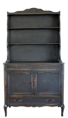 fantastic look for an old hutch. recreate this look with Beckley Coal by CeCe Caldwell's Chalk + Clay Paints from VintageBette.com.