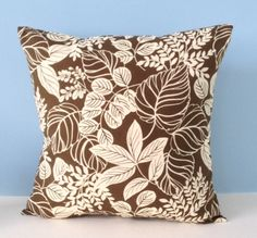 Brown Fall throw pillow. Brown & ivory. Ready to ship. Autumn leaves pillow. Neutral Autumn decor. Fall decor. Decorator toss pillow cover. by sterlingstitchery on Etsy