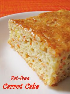 Fat Free Carrot Cake - - 1 1/4 cup unsweetened applesauce  - 1 1/2 cup white sugar Or equivalent of splenda  - 3 eggs  - 2 cups oat flour  - 1 tsp baking soda mixed with 1 tbsp lemon juice or apple vinegar to activate - 1 1/2 tsp baking powder - 1/2 tsp salt - 3 cups grated carrots  - 1 tsp vanilla  - 1 cup Dole pineapple in juice, crushed, not drained