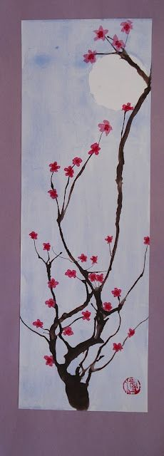Great cherry blossom art project, doing this tomorrow!