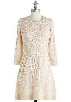 Familiar Flavor Dress in Vanilla. True to your tastes, this cream-colored sweater dress is cute, cozy, and totally versatile. #cream #modcloth