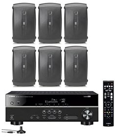 Yamaha 51Channel Wireless Bluetooth 4K AV Home Theater Receiver  Yamaha Natural Sound 2Way 120 watts 2Way IndoorOutdoor Weatherproof Speakers Set Of 6 *** Want to know more, click on the image.